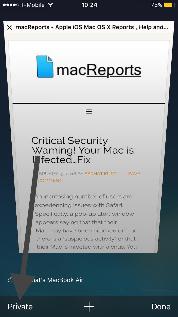 Safari Private Browsing Button Missing Fix Ios Macreports
