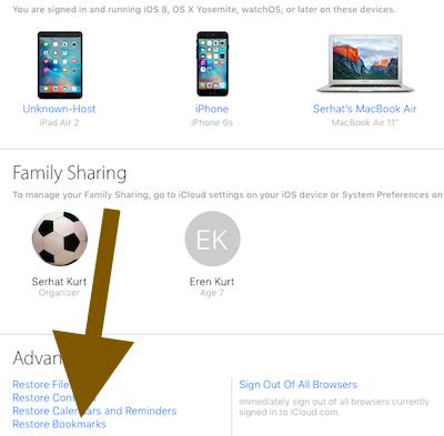 Restore iCloud Bookmarks