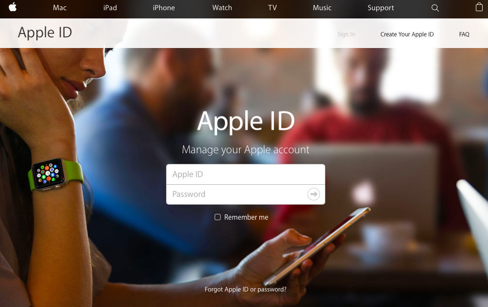Apple ID web site