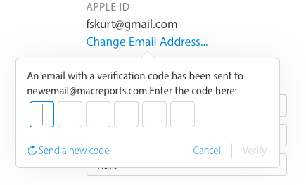 new apple id email change