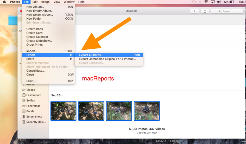 export photos to your computer