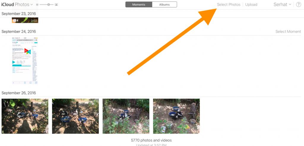 iCloud select photos