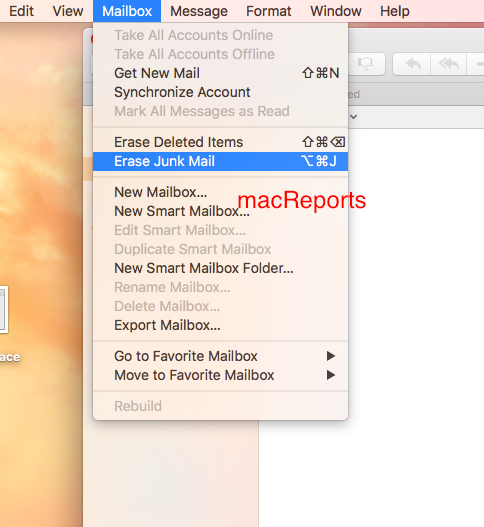 remove junk and deleted mails on your mac