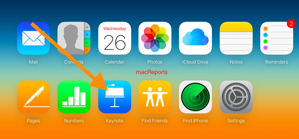 iCloud > Keynote