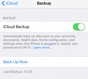 turn on iCloud backup