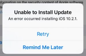 unable to update the ios software