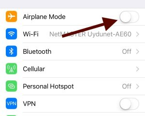 turn on and off airplane mode