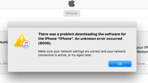 error 9006 iTunes