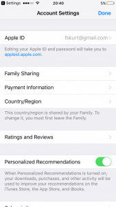 App store account settings