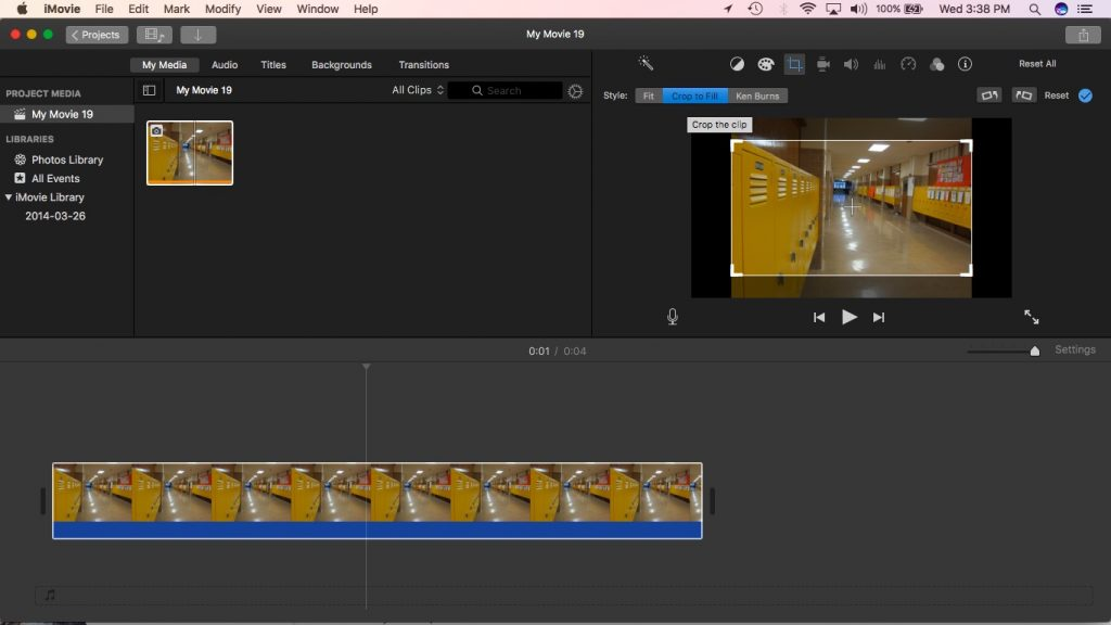 iMovie Crop to fit