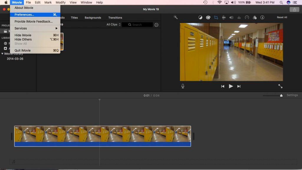 iMovie preferences