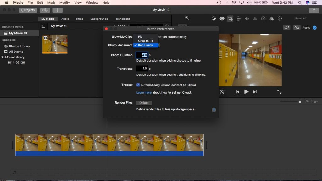 iMovie Settings