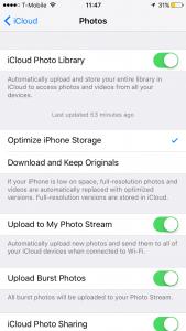 optimize iCloud photos