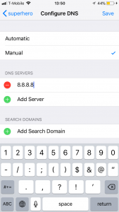 Enter custom DNS iPhone iOS 11