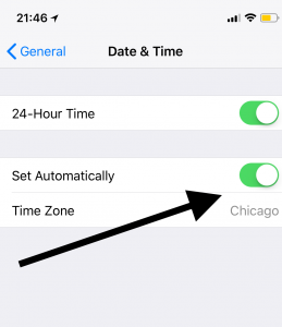 iOS time and date setting