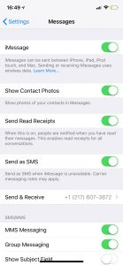 Messages app settings