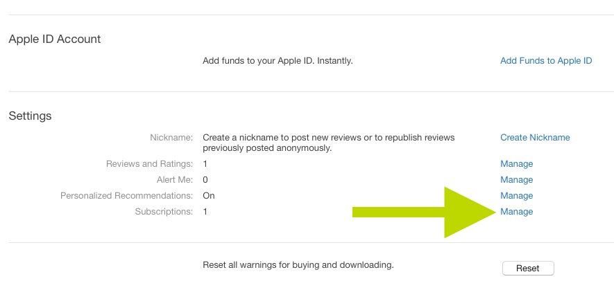 view itunes subscriptions