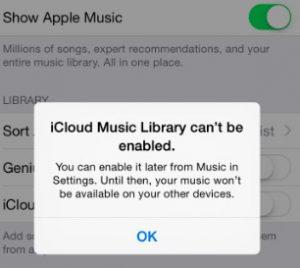 iCloud Music Library Error