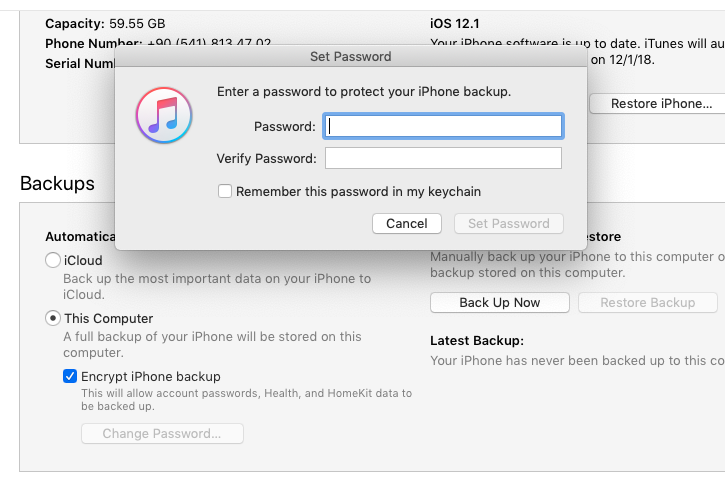 how to disable encrypted itunes backup password