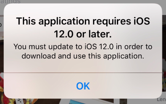 This application requires iOS X.X or later