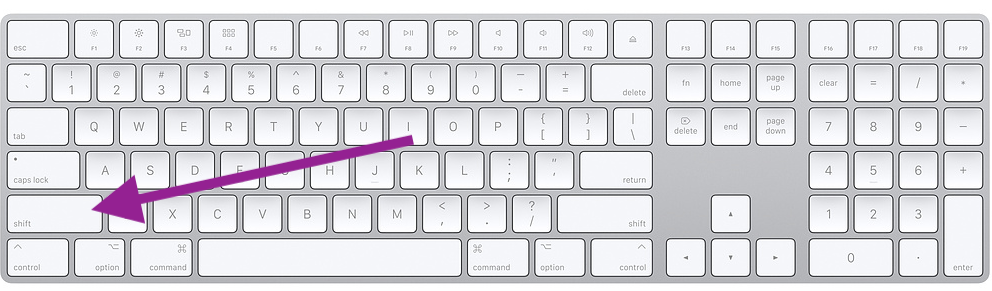 Mac keyboard shift