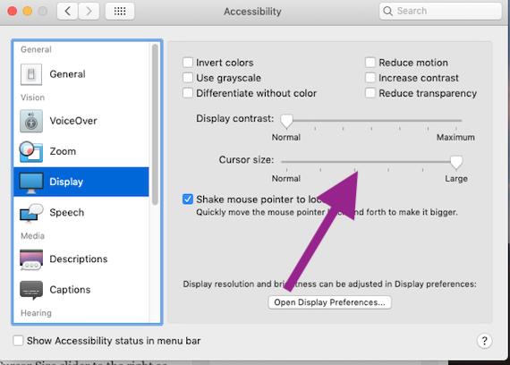 Mac OS Curser Pointer Size