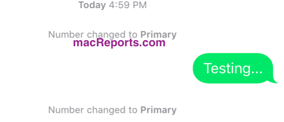 "Messages: ""Number Changed to Primary"" Notification, Fix - macReports"