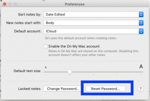 Mac Notes reset password