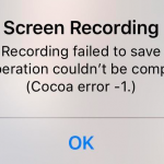screen recording failed to save