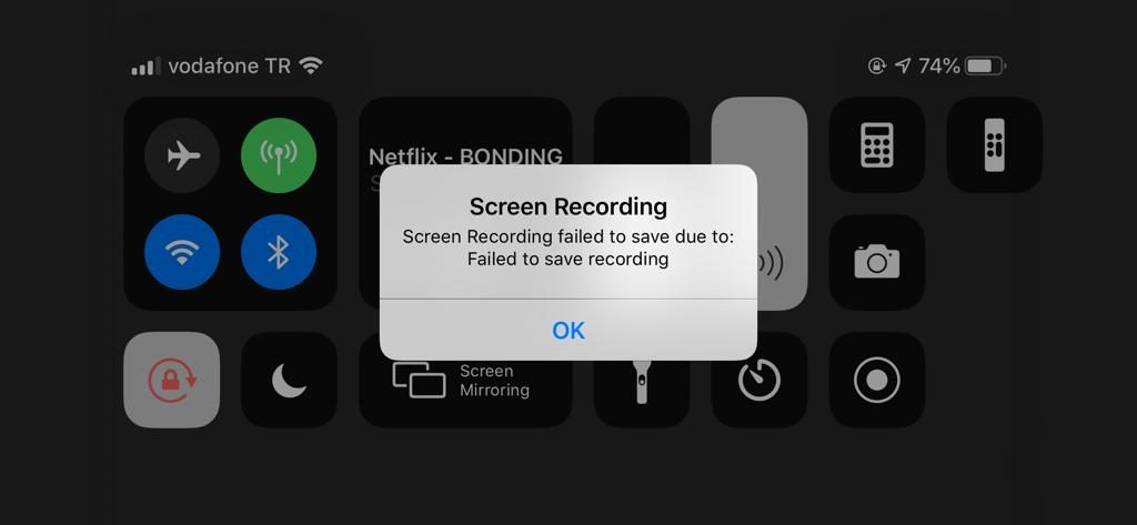 unable to save screen recordings