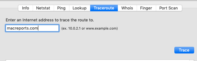 Mac OS Traceroute