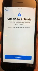 unable to activate an update is required
