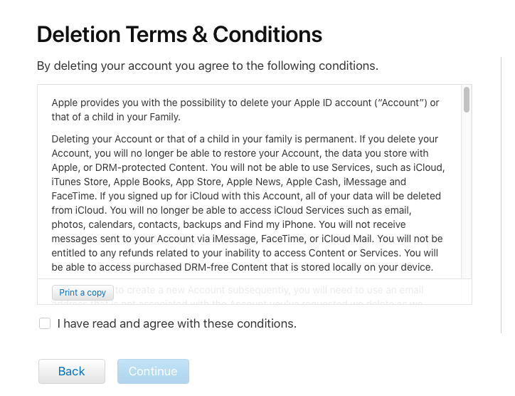 Deletion Terms & Conditions