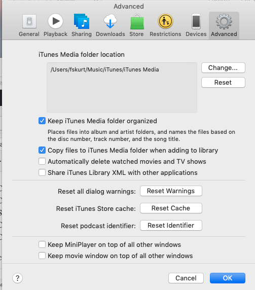 iTunes Reset Warnings