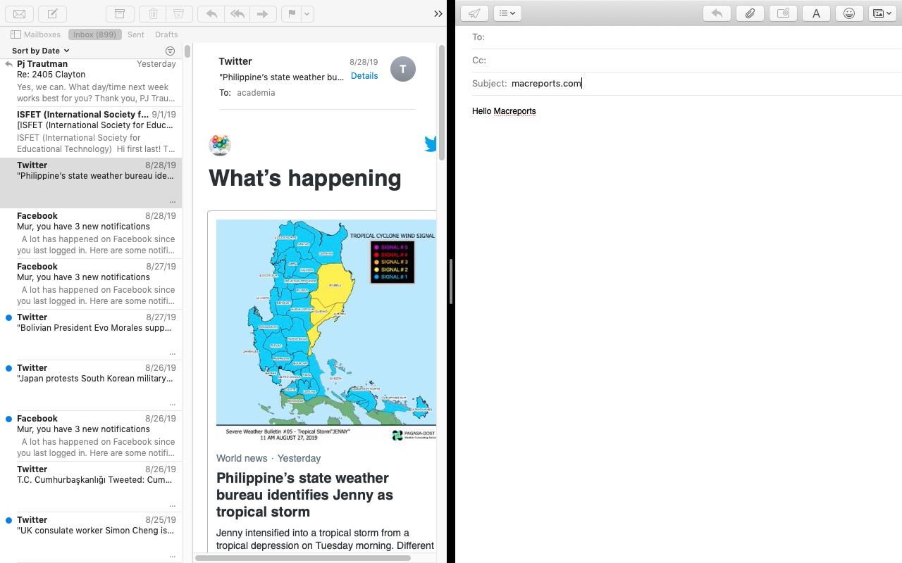 Mac Mail Split View