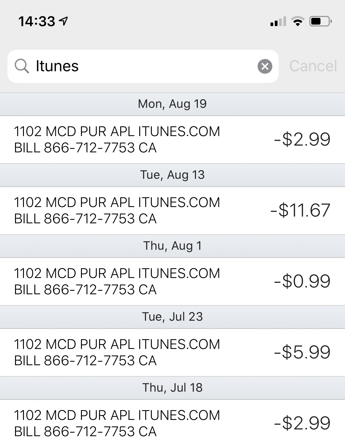 How to contact itunes about charges