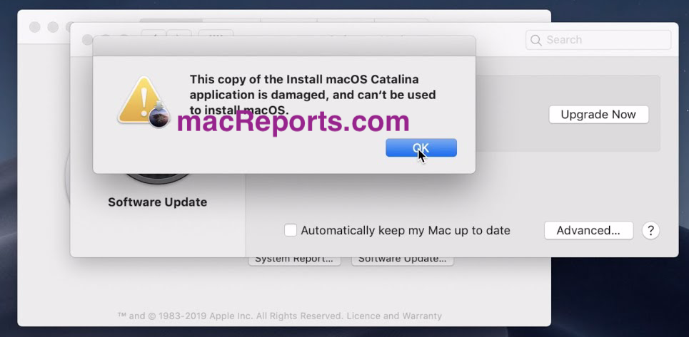 copy of macOS damaged