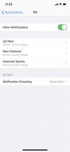 TV app notifications
