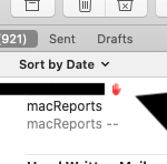 Mac hand icon in Mail
