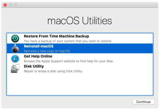 macOS Utilities recovery mode
