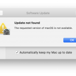 macOS update not found