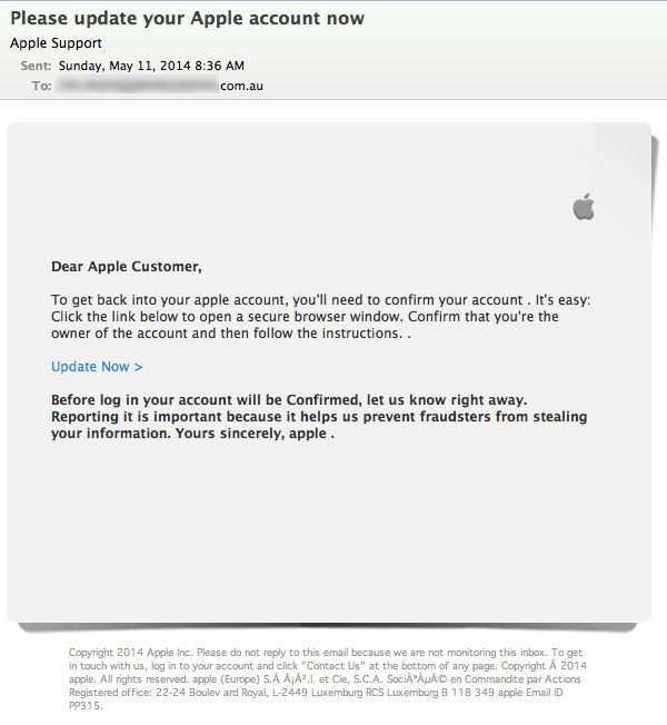 Apple ID fake email