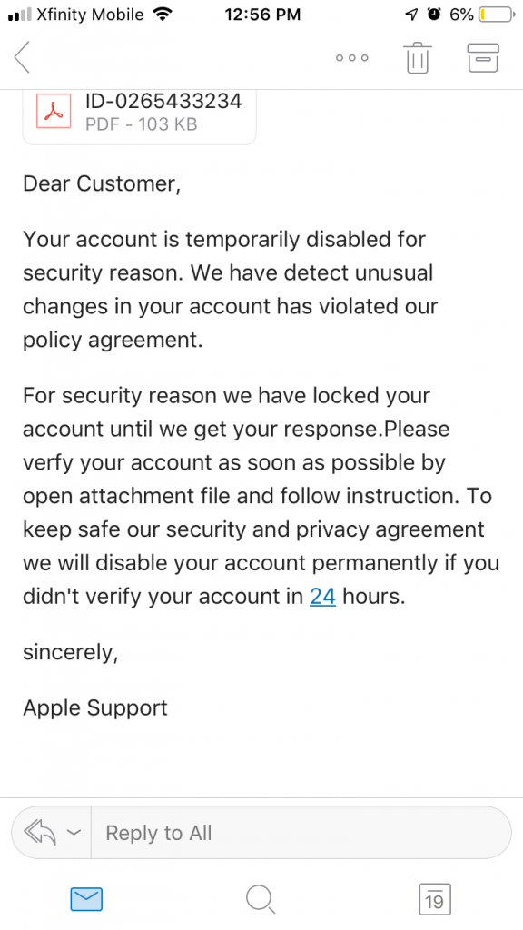 Apple ID spam email