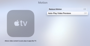 Apple TV Auto Play Disable