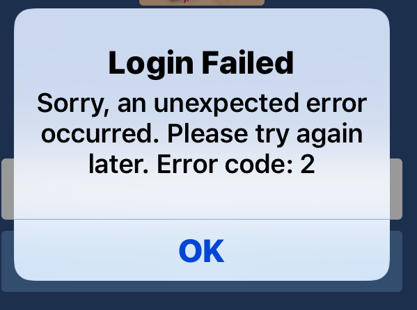 Facebook login failed