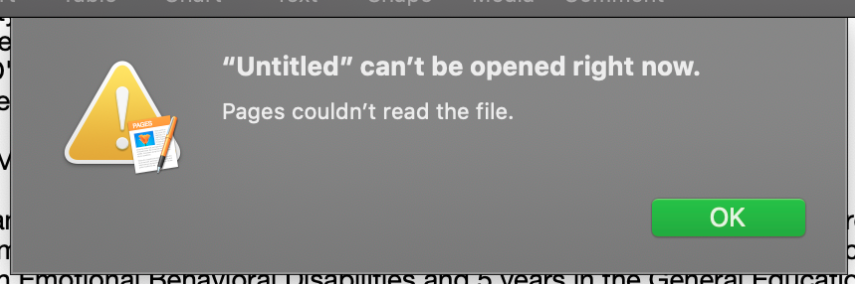 Pages could not open a file