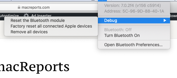 Reset Bluetooth module