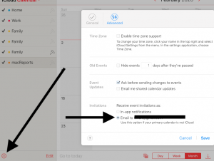 Calendar email setting