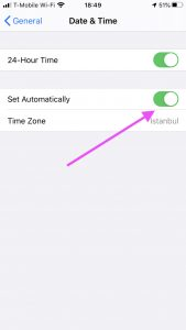 Date and Time settings on iPhone