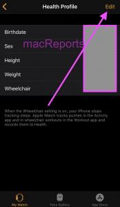 Health Profile Apple Watch
